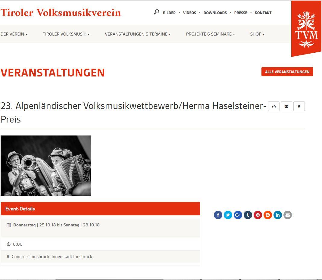 Rumberger Harmonika beim 23. Volksmusikwettbewerb in Innsbruck